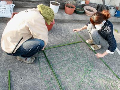 朝顔でグリーンカーテン 土台作り