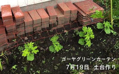 ゴーヤグリーンカーテン(食用兼) 土台作り